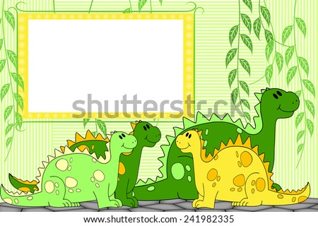 Kid scrapbook with dragons or dinosaurs - Photo  frames for children  - stock photo
