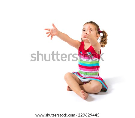 Kid seat in floor over white background - stock photo