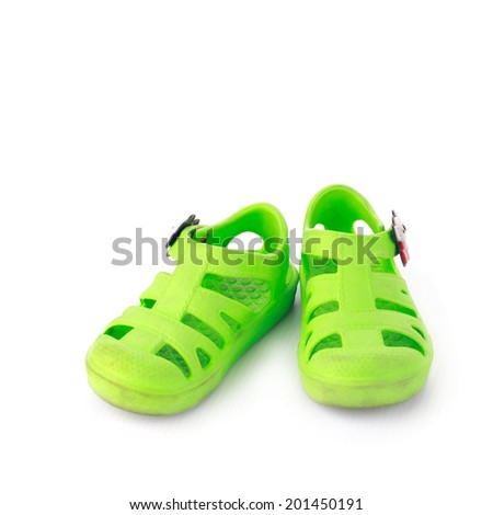 Kid shoes isolate on white - stock photo