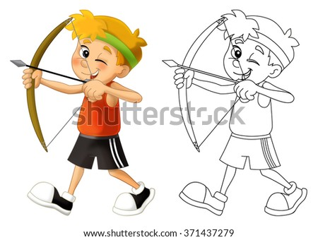 Kid shooting - bow - coloring page - isolated - illustration for the children - stock photo