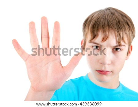 Kid show Stop hand gesture Focus on the Palm - stock photo