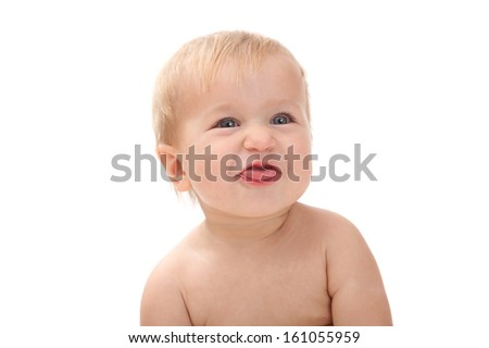 kid showing tongue isolated on white background