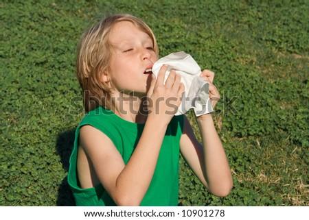 kid sneezing - stock photo