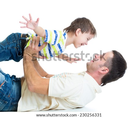 kid son and dad having fun pastime isolated on white background - stock photo