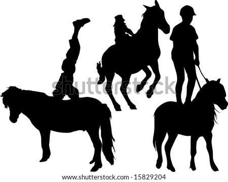 kid standing on horse silhouette illustrations
