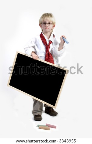 Kid standing with blackboard for your slogan - stock photo
