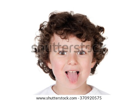Kid sticking out tongue isolated on a white background - stock photo