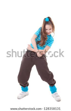 kid street dancer dancing funky hip hop - stock photo