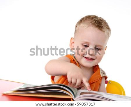 Kid studies to read - stock photo