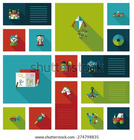 kid toys flat ui background - stock photo