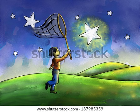Kid trying to catch a star with a butterfly net. Digital watercolor. - stock photo