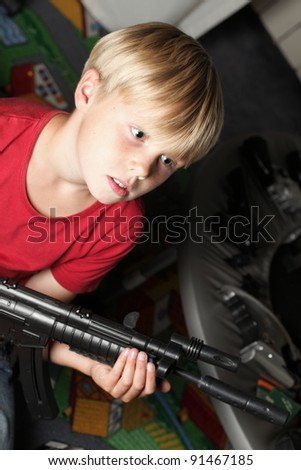 Kid warrior, soldier, shooting, rifle, toy