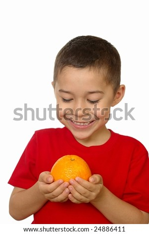 kid with an orange, isolated on white
