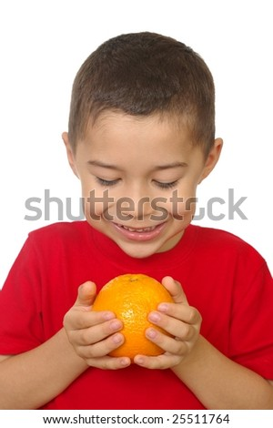 kid with an orange, isolated on white - stock photo