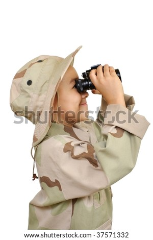 kid with binoculars, isolated on white background - stock photo