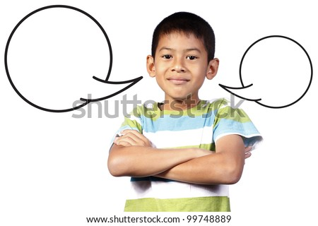 kid with blank Speech on white background - stock photo