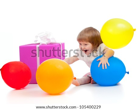 Kid with colorful balloons and gift. Isolated on white. - stock photo