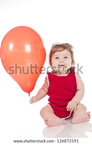 Kid with colorful balloons. Isolated on white.