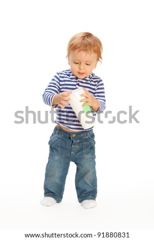 Kid with disposable coffee mug isolated on white - stock photo
