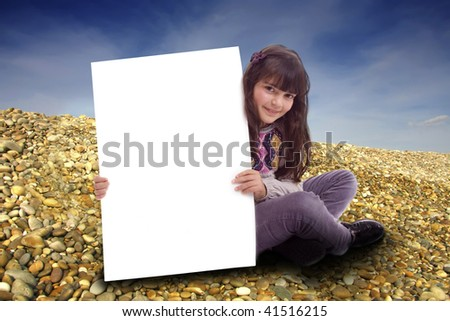 kid with empty card - stock photo