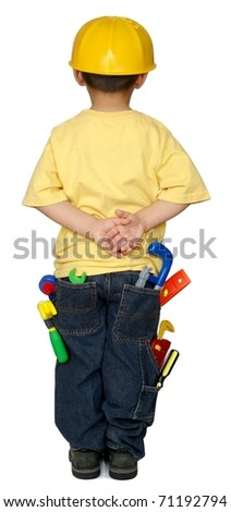 kid with lots of construction tools in his pockets, four years old, isolated on  pure white background - stock photo