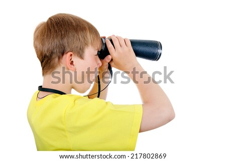 Kid with Monocle Isolated on the White Background - stock photo