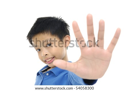 Kid with open hands up, - stock photo