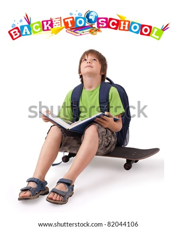 Kid with skateboard and books with back to school theme isolated on white - stock photo