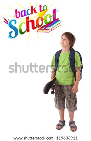 Kid with skateboard with back to school theme isolated on white - stock photo