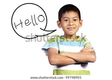 kid with Speech say hello on white background