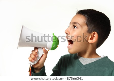 kid yelling through a megaphone on white background - stock photo