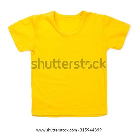 Kid yellow tshirt on white background. - stock photo