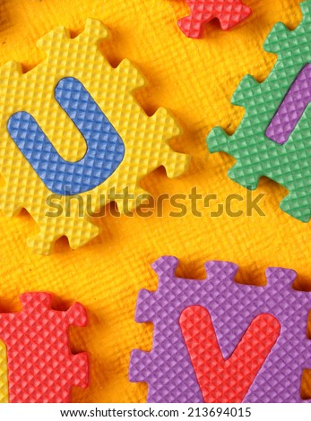 Kiddies style Colored Alphabet and number blocks - stock photo