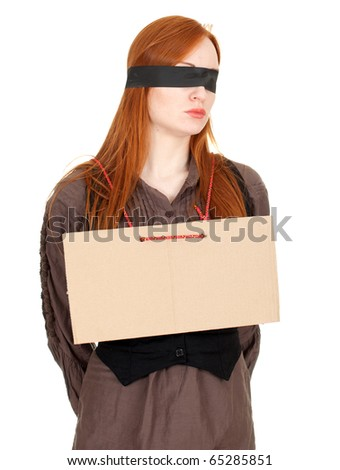 kidnapped young woman, hostage on the white background - stock photo