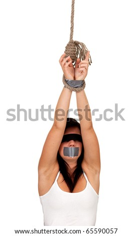 kidnapped young woman, hostage white background - stock photo