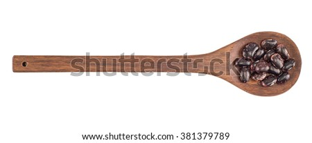 kidney beans on a wooden spoon isolated on white background - stock photo