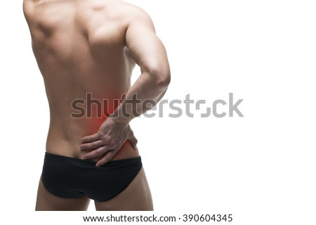 Kidney pain. Man with backache. Ache in the human body. Isolated on white background with red dot - stock photo