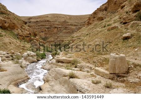 Kidron valley stream in Judea desert near Jerusalem, Israel. - stock photo
