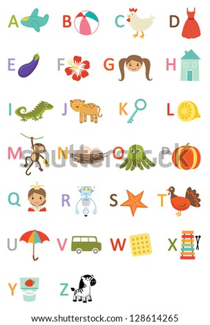 Kids alphabet. Rasterized version. Vector format also available