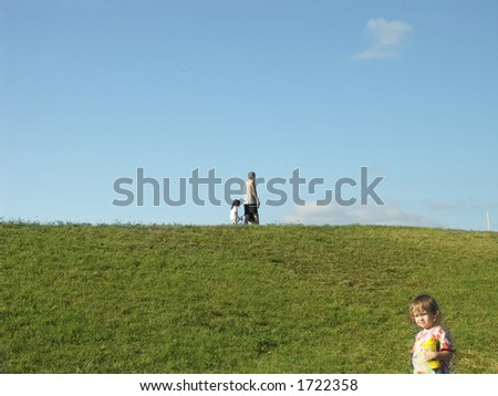Kids and Dad Fishing - stock photo