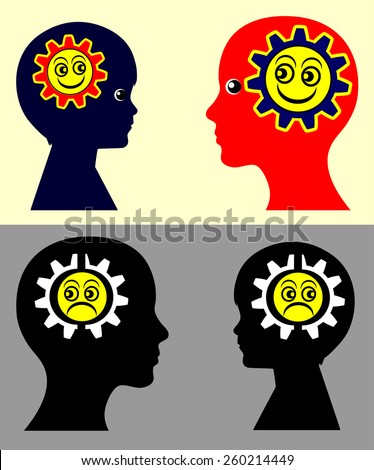 Kids and Emotional Contagion. Psychological concept sign showing that children take on the moods and attitudes of the parents and vice versa - stock photo
