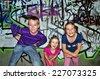 Kids and graffiti wall - stock photo