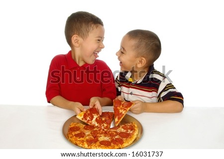Kids and Pizza - stock photo