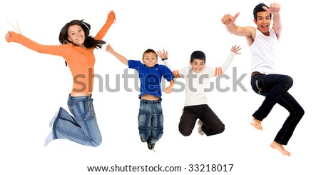 kids and teens having fun jumping in the air - isolated - stock photo