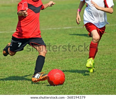 Kids are playing soccer - stock photo