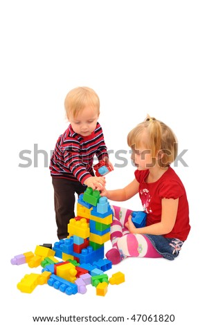 Kids are playing with building blocks