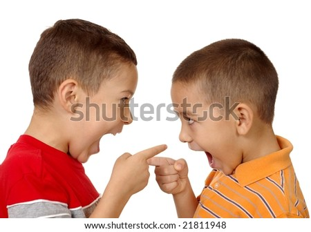 kids arguing and pointing, 5 and 6 years old - stock photo