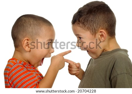 kids arguing 4 and 5 years old - stock photo