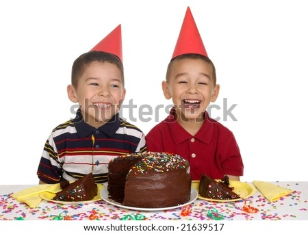 kids at a birthday party - stock photo