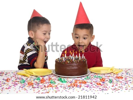 kids at a birthday party, 5 and 6 years old - stock photo